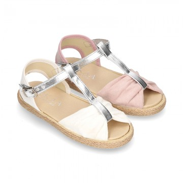 Little T-Strap SANDAL shoes espadrille style in metal canvas.