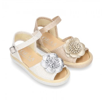 Metal canvas Sandal espadrille shoes with FLOWER design.