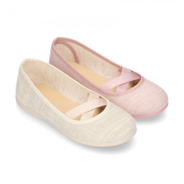 New spring summer LINEN canvas effect ballet flats dancer style with elastic crossed bands.
