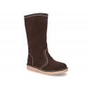 Knee high boot shoes countryside style with zipper in suede leather.