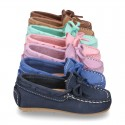 Nobuck leather Moccasin shoes with bows for little kids.