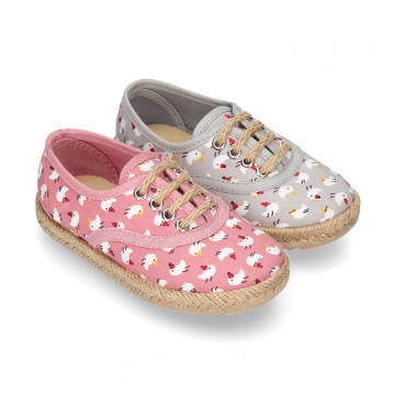 CHICKS print canvas little laces-up shoes espadrille style for kids.