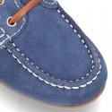 Náutico clásico PRIMAVERA con cordones suela tipo conductor para niños en piel serraje.