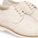 New NATURAL LINEN Laces up shoes for CEREMONY.
