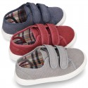 WASHED Cotton Canvas Sneaker with double velcro strap.