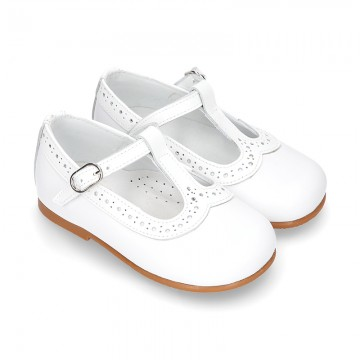 White Nappa leather T-Strap Little Mary Jane shoes with patent leather.