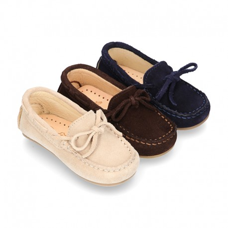 Suede leather Moccasin shoes with bows for little KIDS.