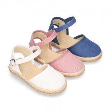 LINEN canvas espadrille shoes with buckle fastening.