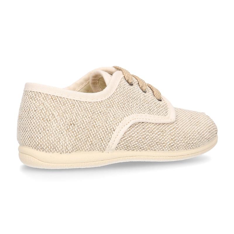 Little LINEN canvas Laces up shoes in