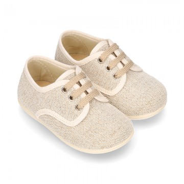 Little LINEN canvas Laces up shoes in NATURAL color.