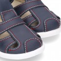 New Washable leather sandal shoes with velcro strap and toe cap design.