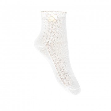 SIDE OPENWORK CEREMONY ANKLE SOCKS WITH BOW BY CONDOR.