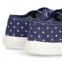 Jeans Cotton Canvas Sneaker with double velcro strap and STARS design.