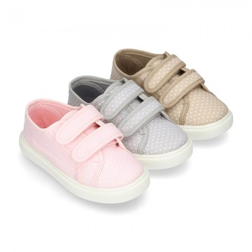 Cotton Canvas Sneaker with double velcro strap and little DOTS design.