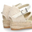 Lace Cotton Canvas CEREMONY espadrille shoes with buckle fastening.