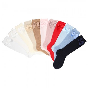 PERLE KNEE-HIGH SOCKS WITH BOW BY CONDOR.
