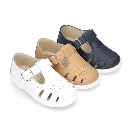 New Little Washable leather sandal shoes T-strap style with buckle fastening and perforated design.