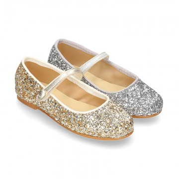 GLITTER classic Mary Jane shoes with velcro strap and button.