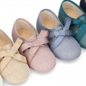 New LINEN canvas Little Laces up shoes with ties closure for little kids.