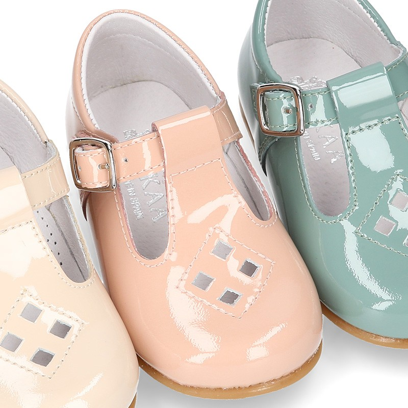 Little T-Strap shoes with perforated design in patent ...