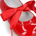 Classic little Mary Jane shoes ANGEL STYLE in patent leather with perforated design.