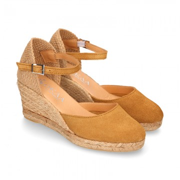 Classic CoWHIDE Suede leather wedge sandals espadrille shoes.