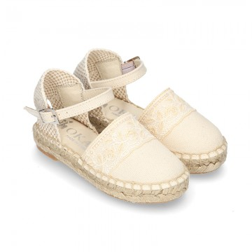 Cotton Canvas CEREMONY espadrille shoes with buckle fastening and embroidery design.