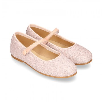 NUDE GLITTER classic Mary Jane shoes with velcro strap and button.