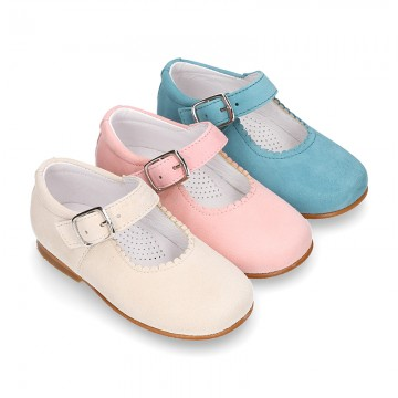 Classic SOFT SUEDE leather little Mary Janes with buckle fastening in pastel colors.