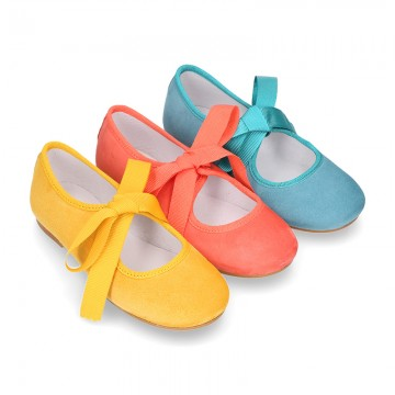 New SOFT SUEDE leather little Mary Jane shoes angel style in seasonal colors.
