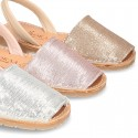 EXTRA SOFT leather Menorquina sandals with rear strap and sequins design.