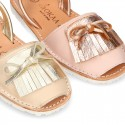 Classic rear strap Menorquina shoes with fringed design in extra soft nappa leather and metal finish.