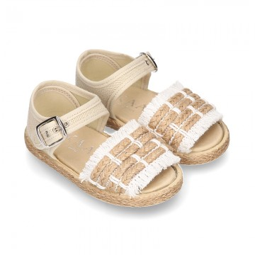 Little SANDAL shoes espadrille style in linen canvas.