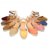 Classic Suede leather wedge sandals espadrille shoes .
