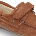 Suede leather Moccasin shoes with VELCRO STRAP closure design.