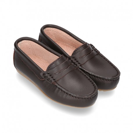 Classic SOFT leather Moccasin shoes with detail mask in brown color.