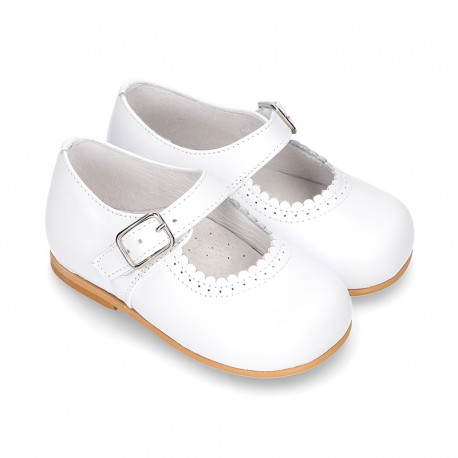 Classic WHITE Nappa leather little Mary Janes with waves design.