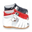 Nappa leather little Sandal shoes with buckle fastening.