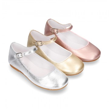 SOFT METAL leather halter Mary Jane shoes with buckle fastening.