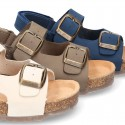 Nobuck leather sandals BIO style with velcro strap and side buckles for kids.
