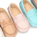 EXTRA SOFT Nappa leather moccasin shoes in pastels colors for little kids.