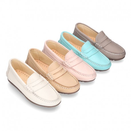 EXTRA SOFT nappa leather moccasin shoes in pastel colors.