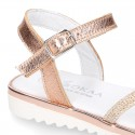 Metal finish leather sandal shoes with SHINY design and white soles.