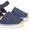 Little JEANS canvas Menorquina sandals combined with soft leather and with velcro strap.