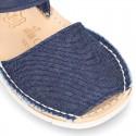 Menorquina velcro lona VAQUERA combinada piel suave y suela flexible.