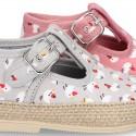 CHICKS print canvas little T-Strap shoes espadrille style for babies.