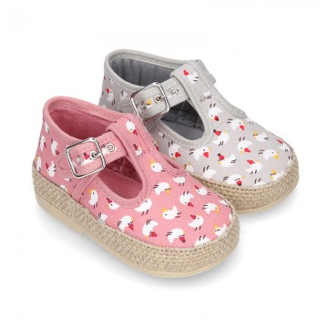 CHICKS print canvas little T-Strap shoes espadrille style for babies.