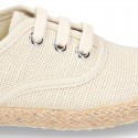 LINEN canvas Bamba type espadrille shoes with ties closure.