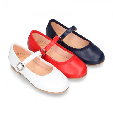 New Extra soft Nappa leather stylized Mary Janes with buckle fastening.
