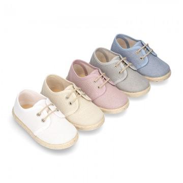 LINEN canvas Laces up shoes espadrille style in pastel colors.
